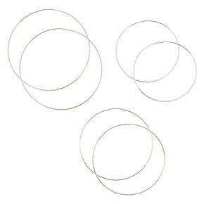 3 Pack 60MM, 70MM, and 80MM Silver-tone Skinny Graduated Hoop Earrings,