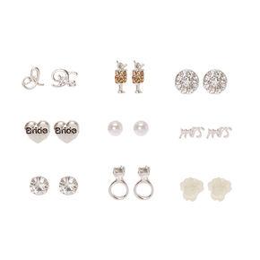 9 Pack Silver-tone Bride Motif Stud Earrings,