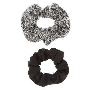 2 Pack Black & Sweater Gray Scrunchies,