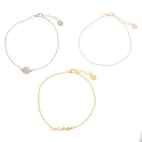 Mixed Metal Aloha Anklet 3 Pack,