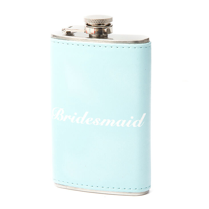 Light Blue Faux Leather Bridesmaid Flask,