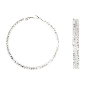 60MM Silver Glitter Hoop Earrings,