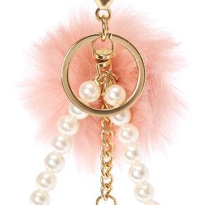 Pink Pom Pom & Tassel Keychain,