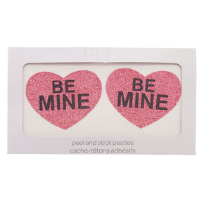 Pink Glitter Heart 'Be Mine' Peel & Stick Pasties,
