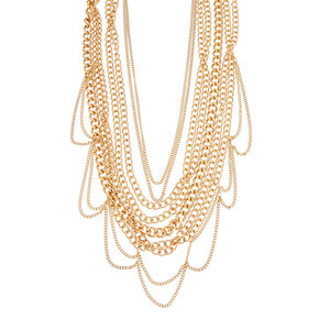 Gold-Tone Multi-Strand Chunky Chain Necklace,