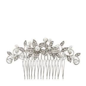 Silver Crystal Flower and Pearl Hair Comb,