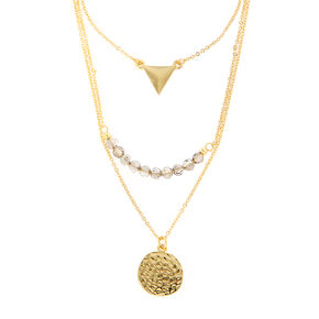 Gold Triangle, Hammered Disc and Smokey Crystals Layered Pendant Necklace,