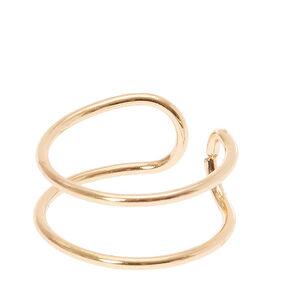 Gold-tone Thin Double Band Ear Cuff,