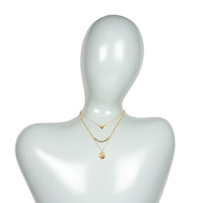 Gold Triangle, Hammered Disc & Smokey Crystals Layered Pendant Necklace,