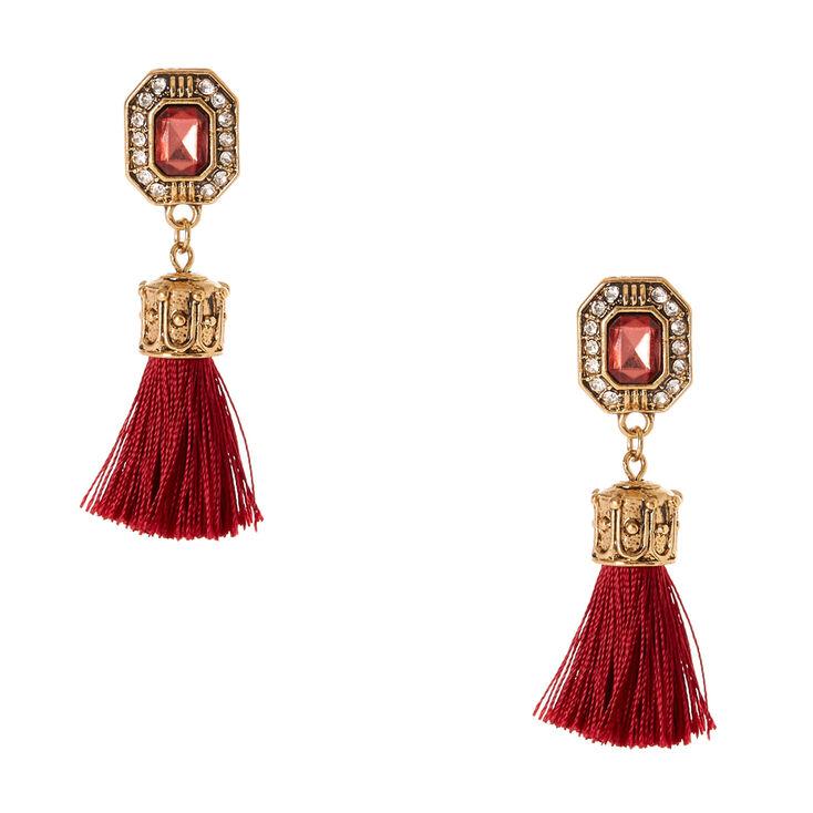 Gold Tone & Wine Gem Tassel Drop Earrings,