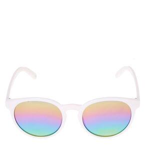 White Cat Eye Mirrored Sunglasses,