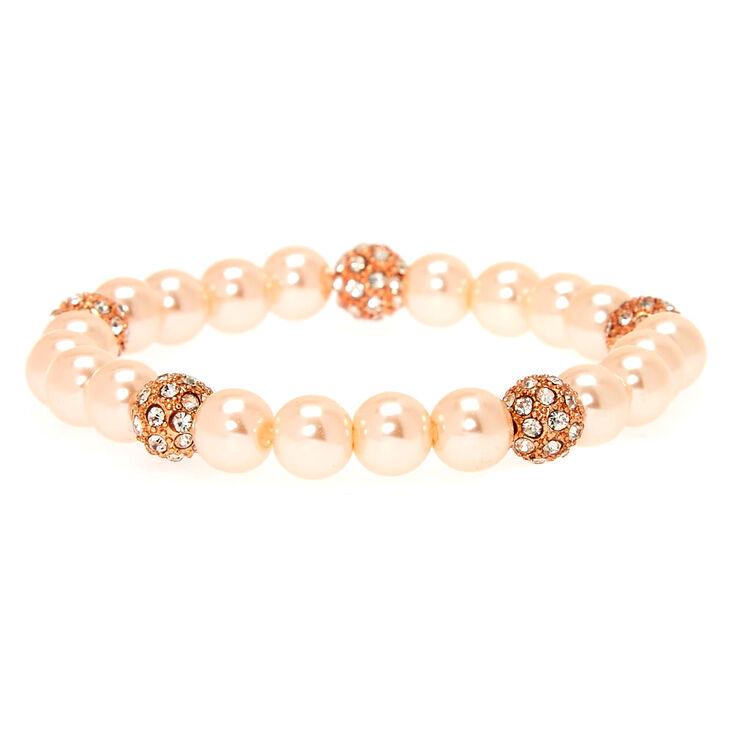 Blush Fireball & Pearl Bead Stretch Bracelet,