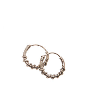 Silver-tone Barbed Wire Mini Hoop Earrings,
