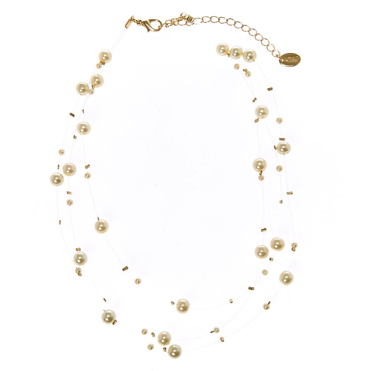 Multi-Strand Ivory Faux Pearl Choker Necklace,