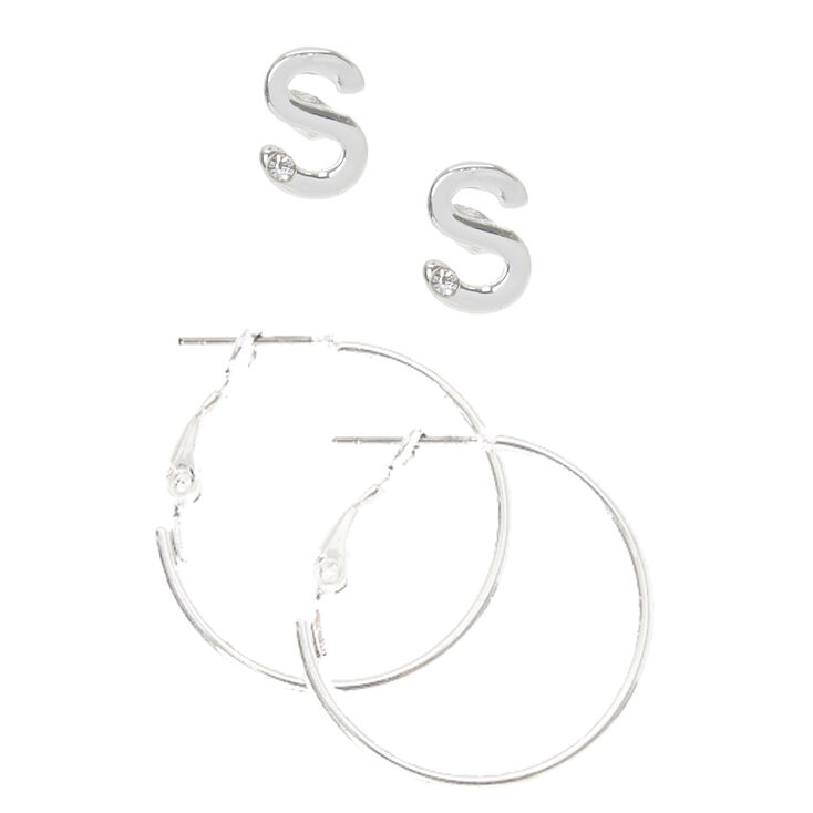 Silver Initial S Stud and Mini Hoop Earrings,