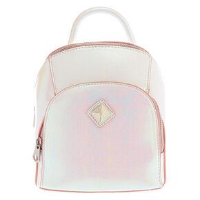 Faux Leather Pink Metallic Sheen Mini Two Way Crossbody Backpack,
