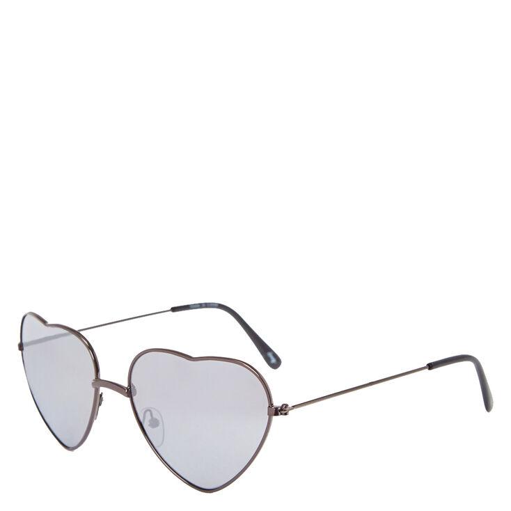 Black Chrome Heart-Shaped Sunglasses,