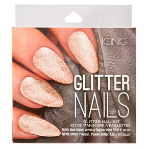 Rose Gold Glitter Nail Kit,