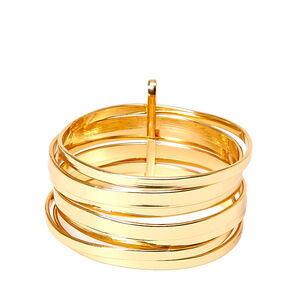 7 Pack Gold Toned Linked Bangles,