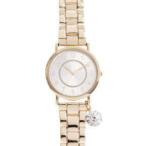 Gold-Tone Watch with Simulated Rhinestone Charm,