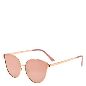 Rose Gold Cat Eye High Brow Sunglasses,