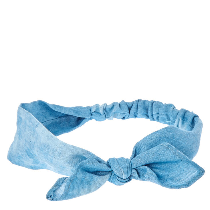 Washed Denim Knotted Bow Headwrap,