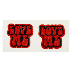 Red Glitter LOVE ME Peel & Stick Pasties,