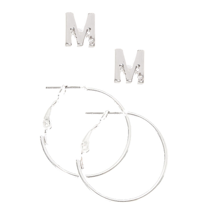 "Silver Initial ""M"" Stud & Mini Hoop Earrings,"
