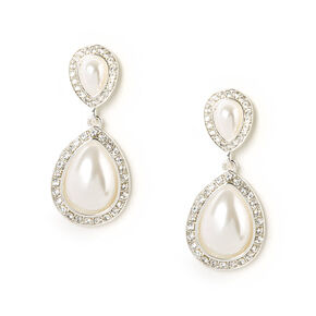 Pearl & Rhinestone Inverted Teardrop Drop Earrings,