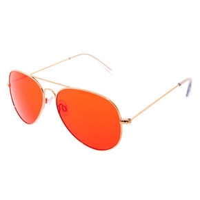Red Tinted Aviator Sunglasses,