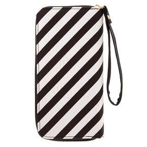 Black + White Striped Wristlet,
