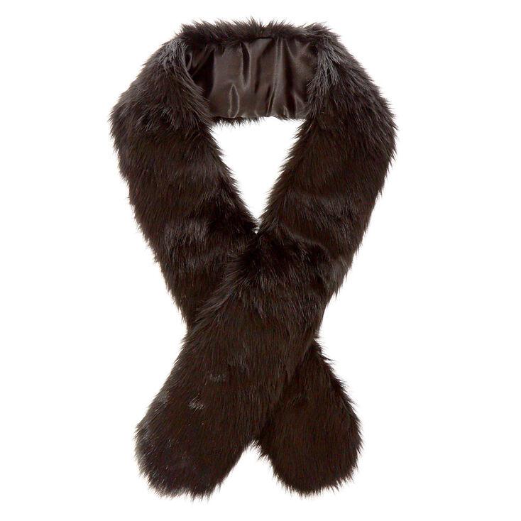 Black Faux Fur Stole,