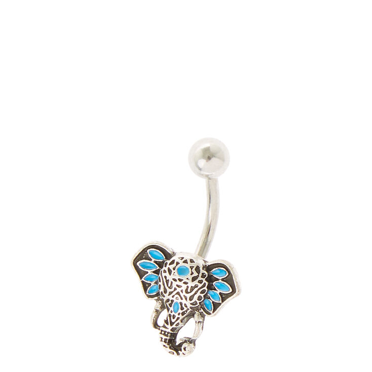 Elephant Embellished Belly Ring,