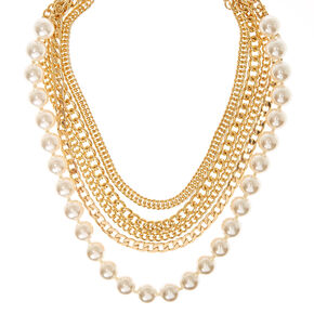 Gold-Tone Multi-Layer and Faux Pearl Chunky Necklace,