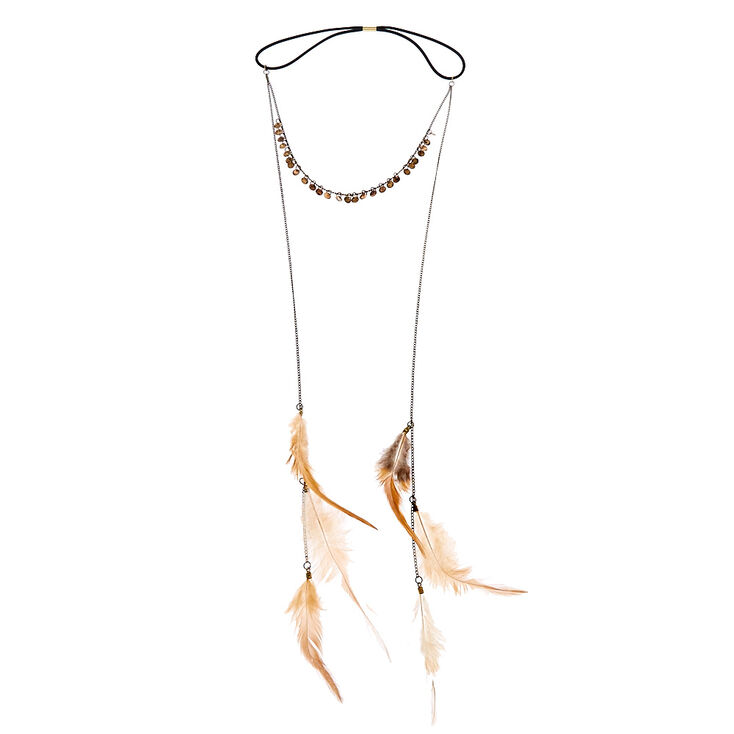 Gold Dangling Feather Headchain,