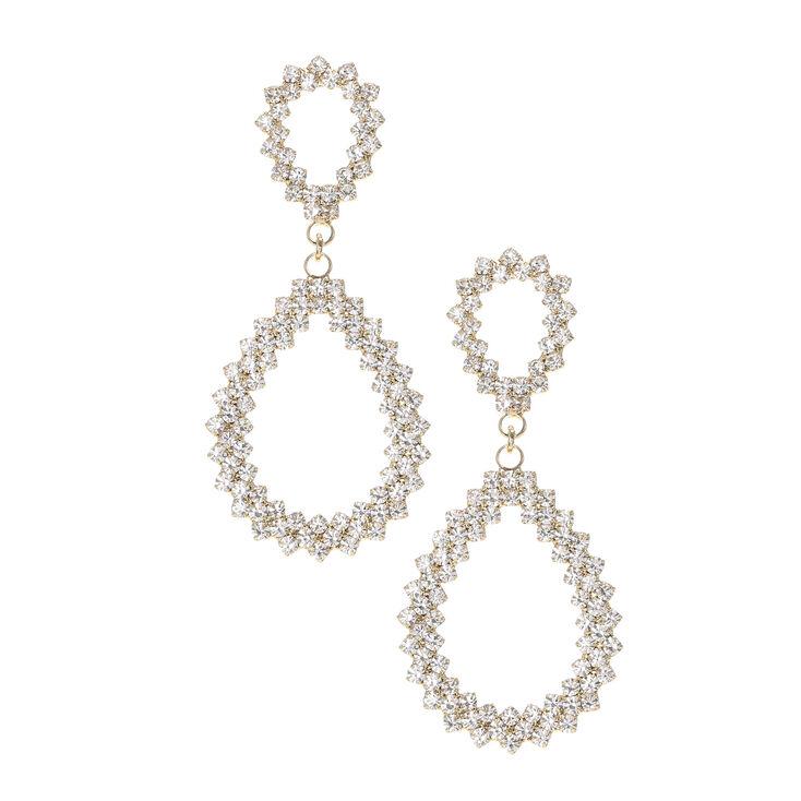 Gold and Crystal Teardrop Drop Earrings,