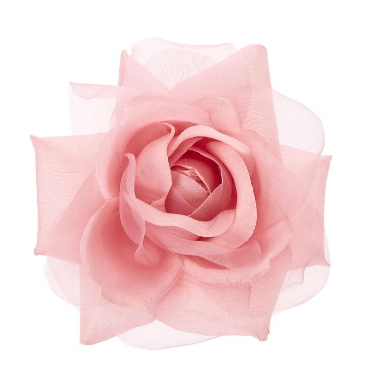 Blush Pink Chiffon Rose Hair Clip,