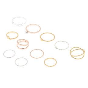 9 Pack Mixed Metal Rings + 10th Bonus Ring,