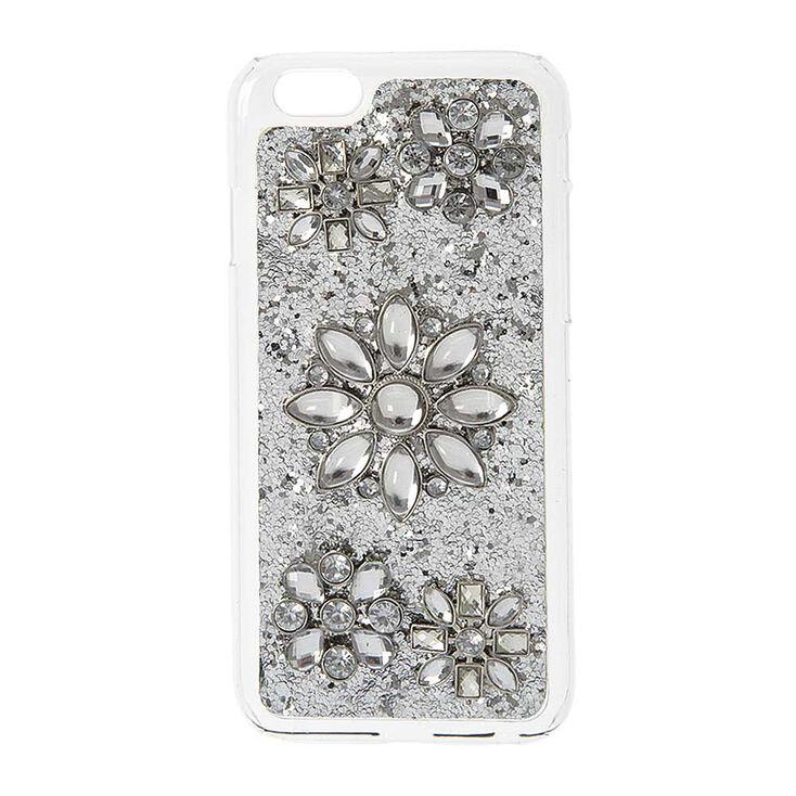 Silver Glitter & Flowers Phone Case,