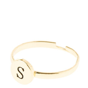 """Gold Circle """"S"""" Initial Letter Ring,"""