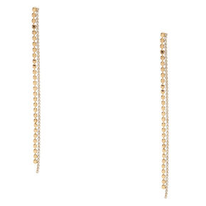 Gold-tone and Faux Crystal Geometric Fringe Drop Earrings,