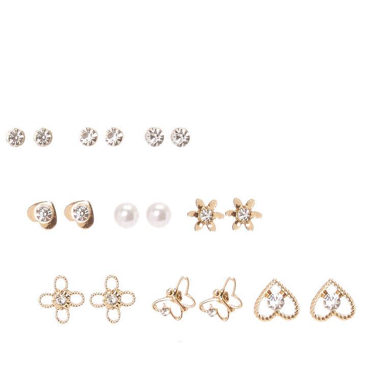 Gold Tone Dainty Motif Stud Earrings,