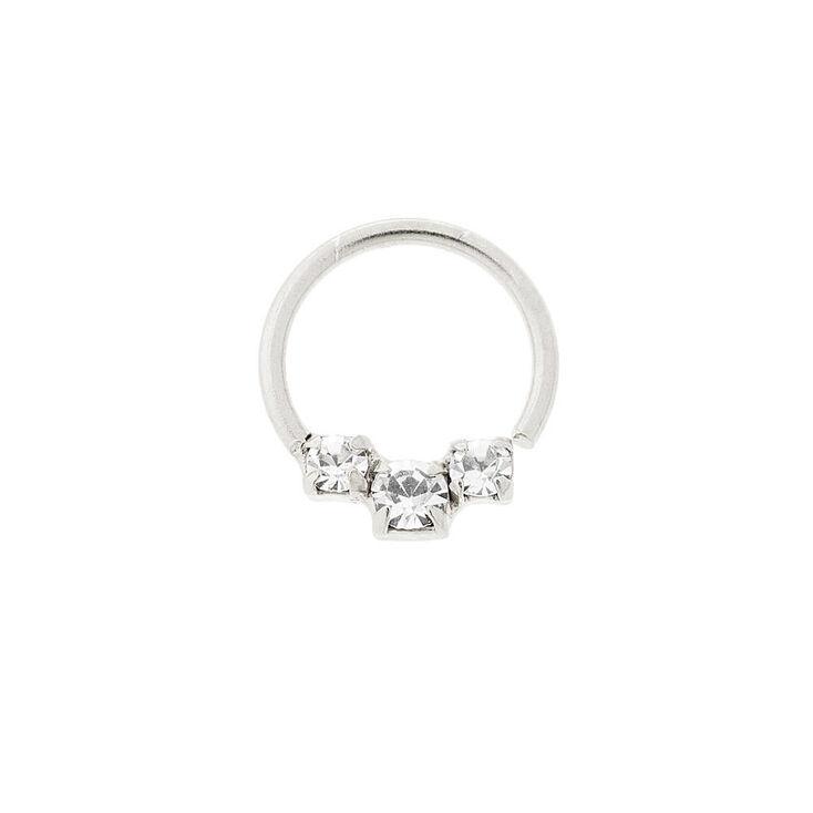 20G Sterling Silver & Graduated Crystal Cartilage Hoop Earring,