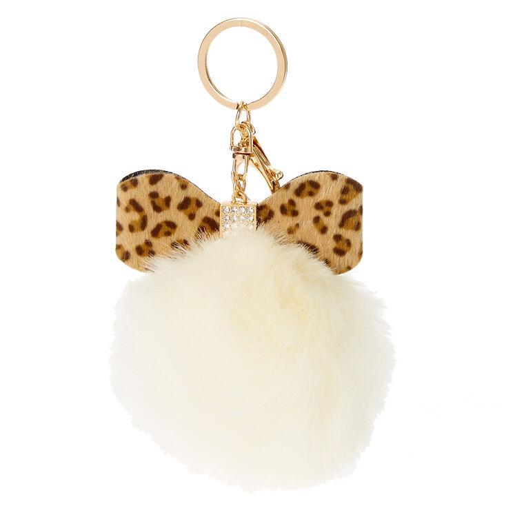 Ivory Leopard Bow Faux Fur Pom Key Ring,
