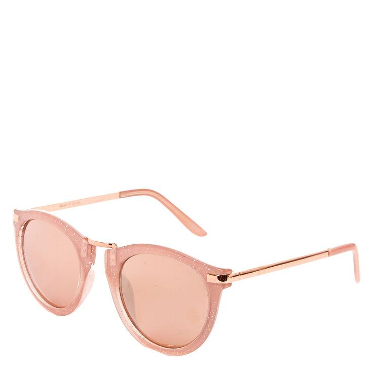 Mod Round Pink Glitter Sunglasses,
