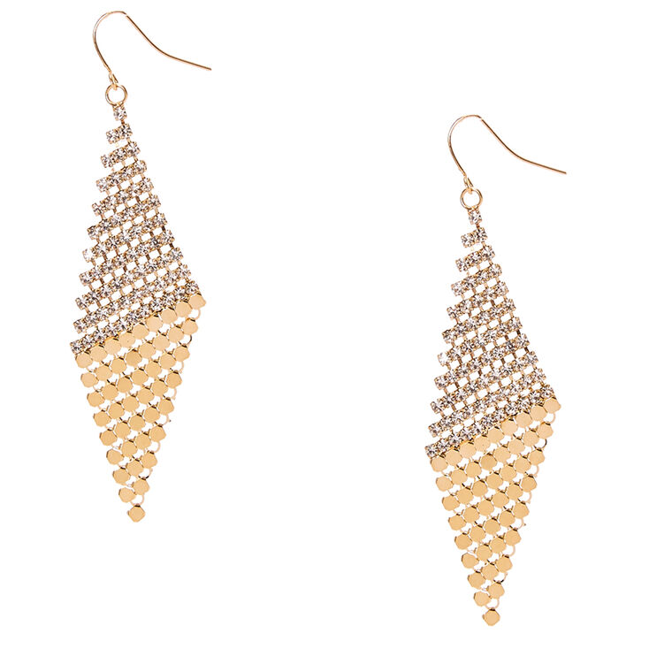 Gold Tone Slanted Crystal Mesh Diamond Drop Earrings,