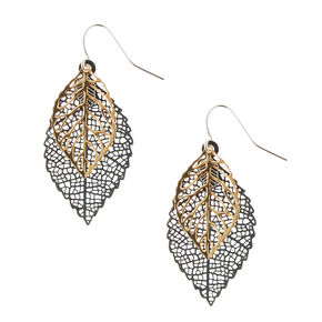 Gold and Silver Filigree Leaf Drop Earrings,