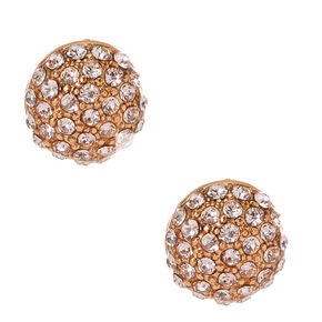 Gold Dome Pavè Stud Earrings,
