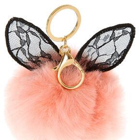 Black Lace Bunny Ears Pom Pom Keychain,