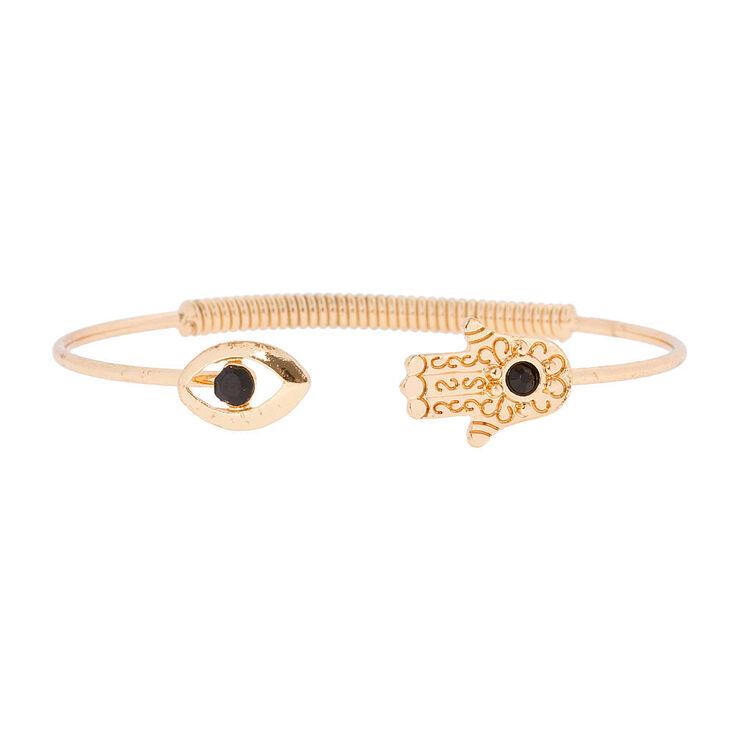Gold Evil Eye & Hamsa Hand Open Cuff Bracelet,